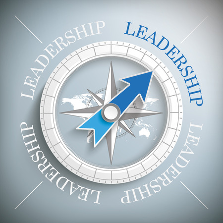 Compass with the text Leadership. Illustration