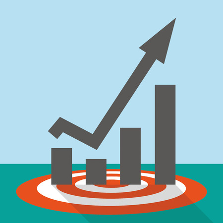 stockmarket chart: Flat design with a red target and a growing chart. Illustration