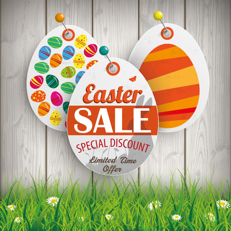offer: Price stickers for easter sale on the wooden background with green grass. vector file.