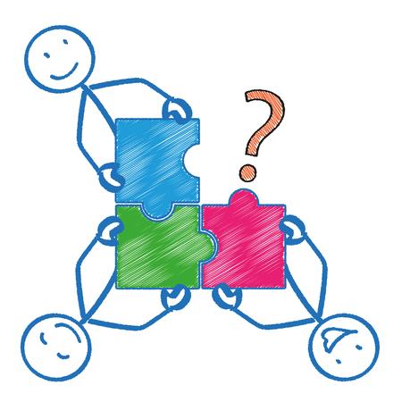 4 stickmen con pezzi di puzzle rettangolo e un punto interrogativo. file vettoriale.