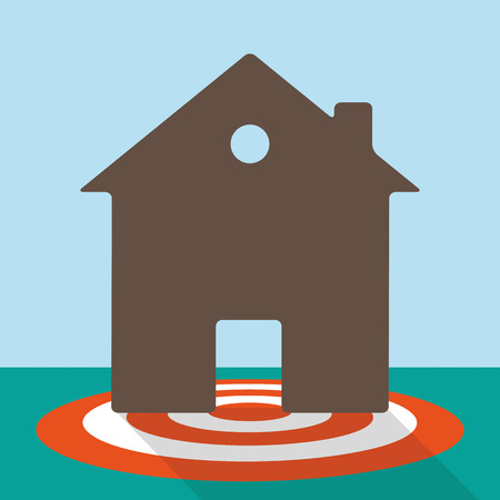 eps 10: Flat design with a red target and a house. Eps 10 vector file.