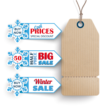 winter sale: 3 markers with carton price sticker for winter sale. Eps 10 vector file.