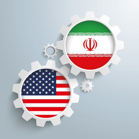 controll: White gears with US and Iran flags. Eps 10 vector file. Illustration