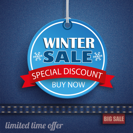 winter sale: Blue jeans fabric with circle price sticker for winter sale. Eps 10 vector file. Illustration