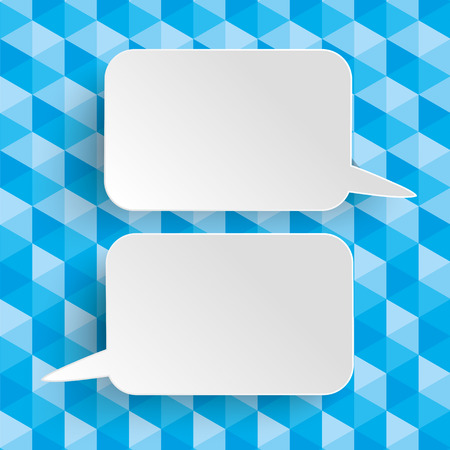 Lowpoly design with blue colors and 2 white paper speech bubbles.  vector file.