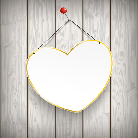 thumb tack: Golden heart and pin on the wooden background. Eps 10 vector file.