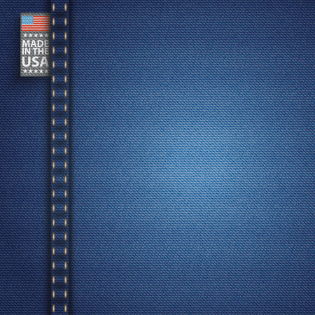 jeans fabric: Blue jeans fabric with label and text Made in the USA. Eps 10 vector file. Illustration