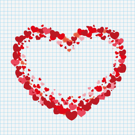 eps 10: Big heart with hearts on the checked paper. Eps 10 vector file.