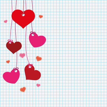 eps 10: Handdrawn hearts on the checked paper. Eps 10 vector file. Illustration