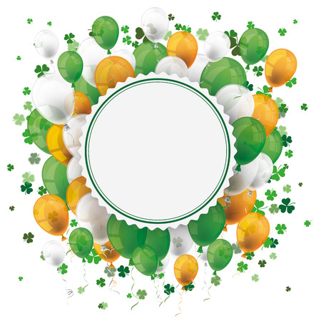 ire: Cover for St. Patricks Day Sale with banner, balloons, shamrocks and emblem. Eps 10 vector file. Illustration