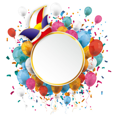 Golden paper emblem with colored balloons, jesters cap and confetti on the white. Eps 10 vector file. Vettoriali