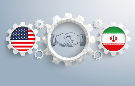 controll: USA and iranian flag with handdrawn handshake on the gray background. Eps 10 vector file.