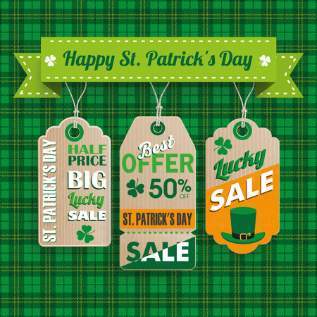 lucky: Green irish tartan background for St. Patricks Day sale with 3 price stickers. Eps 10 vector file. Illustration