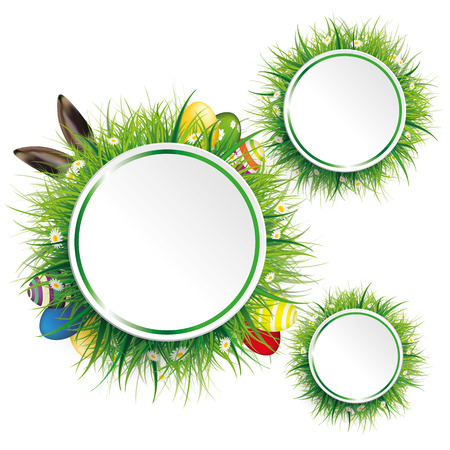 wooden circle: Circle label with green grass, flowers, eggs and hare ears on the white. Eps 10 vector file. Illustration
