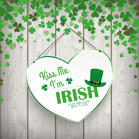 im: Green heart and text Kiss Me, Im Irish. Eps 10 vector file.