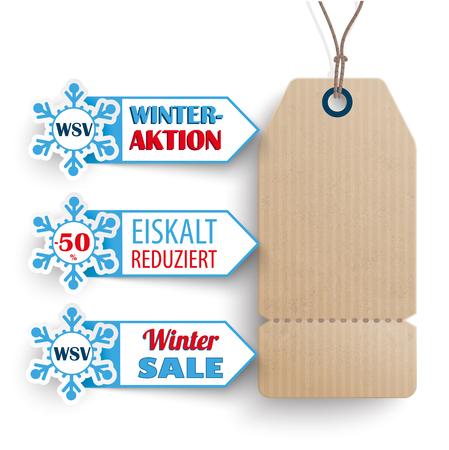 """Deutsch Text """"WSV, Eiskalt Reduziert"""", zu übersetzen """"Winter Sale, Gefrorenes Preise"""". Eps 10 Vektor-Datei. Vektorgrafik"""