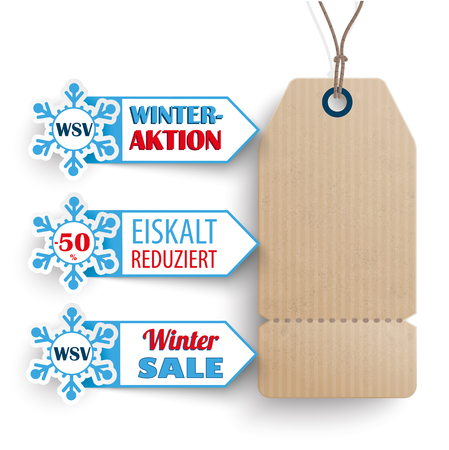 German text WSV, Eiskalt Reduziert, translate Winter Sale, Frozen Prices. Eps 10 vector file. Illustration