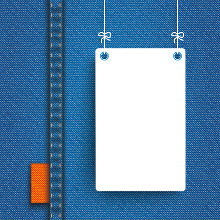 jeans fabric: Blue jeans fabric with white hanging frame. Eps 10 vector file.