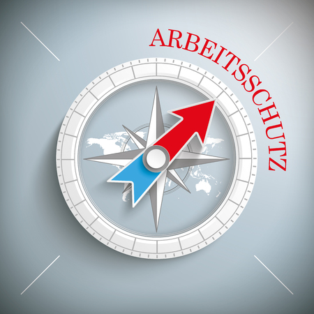 occupational: Blue german text Arbeitsschutz, translate Industrial Safety Eps 10 vector file.