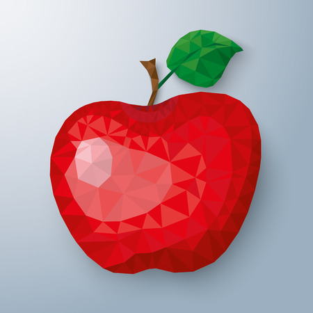 onlineshop: Low poly apple fruit with shadows on the gray background. Eps 10 vector file. Illustration