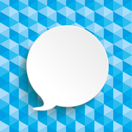 argumentation: Lowpoly design with blue colors and white paper speech bubble.  Eps 10 vector file.