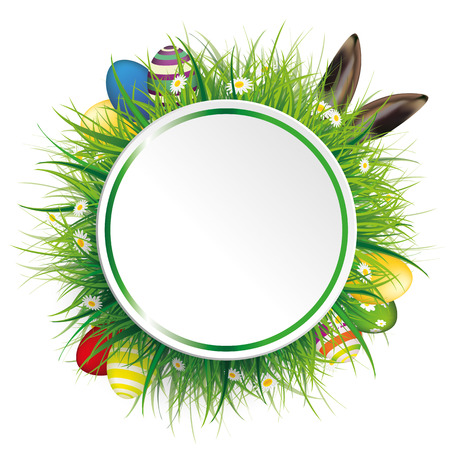 Circle label with green grass, flowers, eggs and hare ears on the white. Eps 10 vector file.