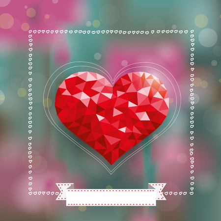 eps 10: Background bokeh design with low poly heart. Eps 10 vector file.
