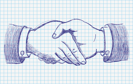 eps: Handdrawn handshake on the checked paper. Eps 10 vector file.