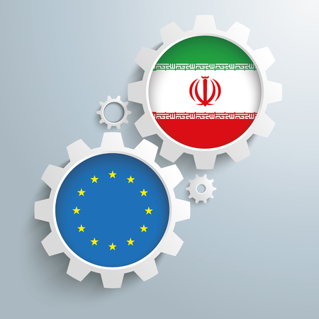 controll: White gears with EU and Iran flags. Eps 10 vector file. Illustration