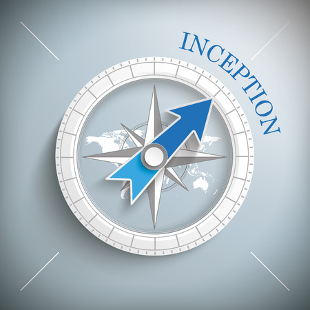 inception: Compass with text inception on the gray background. Eps 10 vector file.