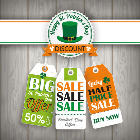 st  patrick's: 3 price stickers with thanksgiving emblem for St. Patricks Day on the wooden background. Eps 10 vector file.