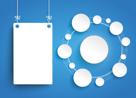 blue network: Hanging frame with circles network on the blue striped background. Eps 10 vector file. Illustration