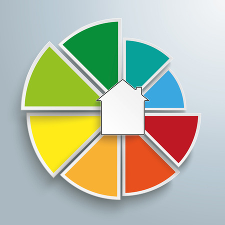 pie: Piechart with house on the gray background. Eps 10 vector file.