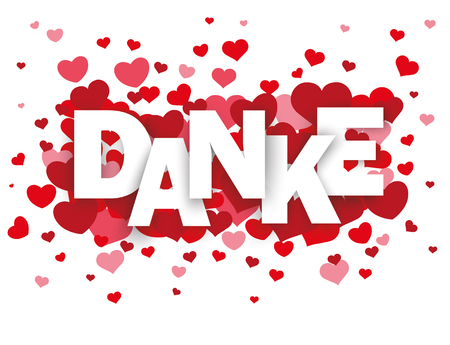 mother'sday: German text Danke, translate Thanks with red hearts on the white background. Eps 10 vector file.