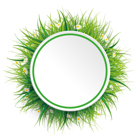 grounds: Circle label with green grass and flowers on the white. Eps 10 vector file.