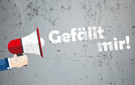 German text Gefaellt mir, translate I like it. Eps 10 vector file.