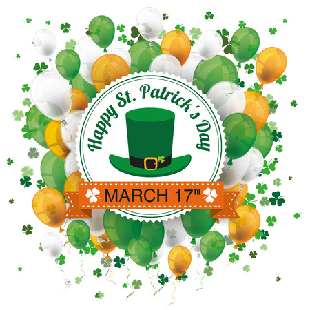 Cover for St. Patricks Day Sale with banner, balloons, shamrocks and emblem. Eps 10 vector file. Illustration