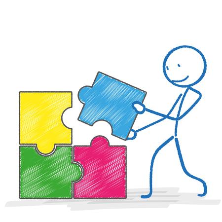 bonhomme allumette: Stickman avec rectangle de puzzle sur le blanc. Eps 10 fichier vectoriel. Illustration
