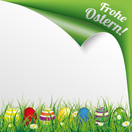 enrolled: German text Frohe Ostern, translate Happy Easter. Eps 10 vector file.