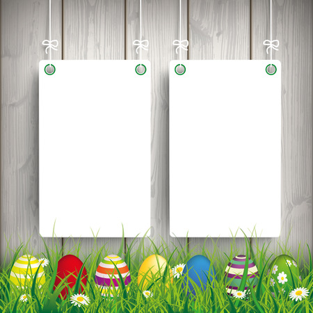 Green grass with colored easter eggs and white boards on the wooden background. Eps 10 vector file. Illustration