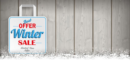 winter sale: Wooden background with snowflakes and shopping bag for winter sale. Eps 10 vector file.