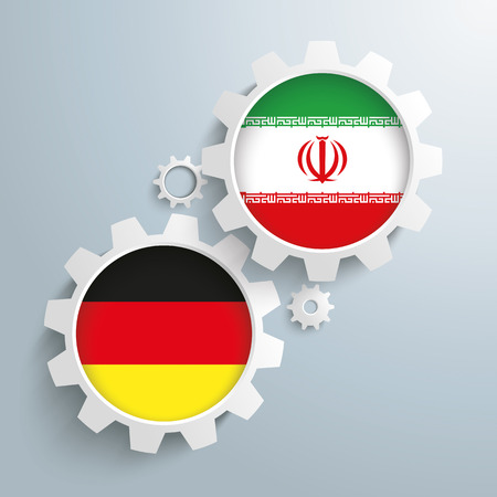 controll: White gears with german and iran flags. Eps 10 vector file.