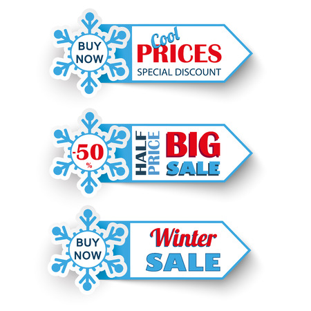 eps 10: 3 markers for winter sale. Eps 10 vector file.