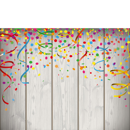 slat: Confetti with ribbons and banner on the wooden background. Eps 10 vector file. Illustration