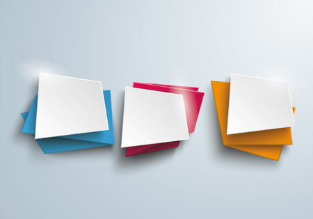 three pointer: 3 colored leaflet banners on the gray background. Eps 10 vector file.