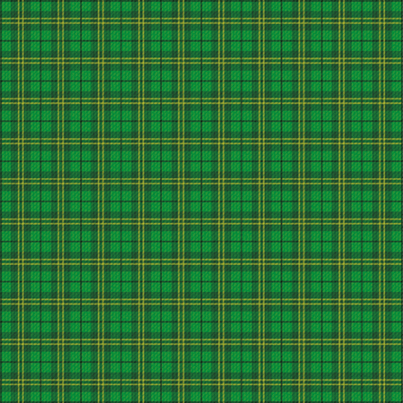 garment label: Green irish tartan fabric. Eps 10 vector file. Illustration