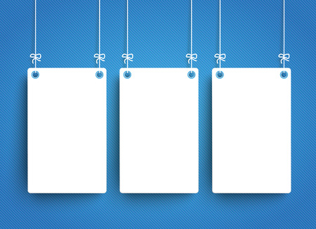 memos: Hanging frame with paper clouds on the blue striped background. Eps 10 vector file. Illustration