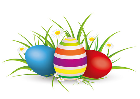 eps 10: Easter eggs with gras and flowers on the grey background. Eps 10 vector file. Illustration