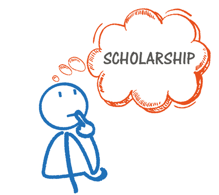 scholarship: Stickman with thought bubble and text scholarship on the white background. Eps 10 vector file.