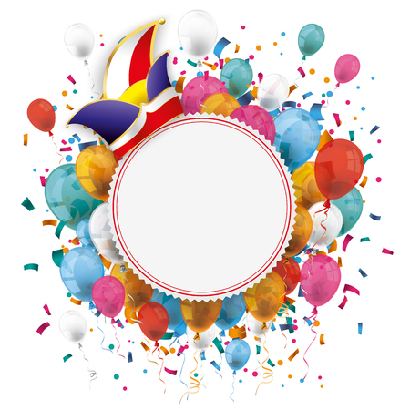 fete: White paper emblem with colored balloons, jesters cap and confetti on the white. Eps 10 vector file.